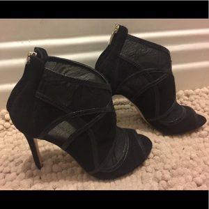 Karen Millen caged lace & suede black booties